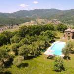 Aerial view of Casa degli Ulivi, vacation villa Tuscany Umbria border.