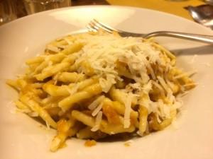 Trofie Pasta In Leek and Pumpkin Sauce, L'Osteria, Siena