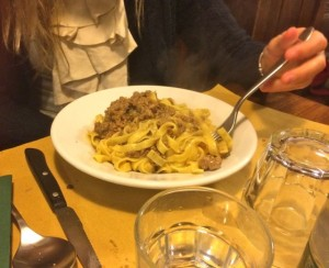 Tagliatelle with ragu in bianco, L'Osteria, Siena