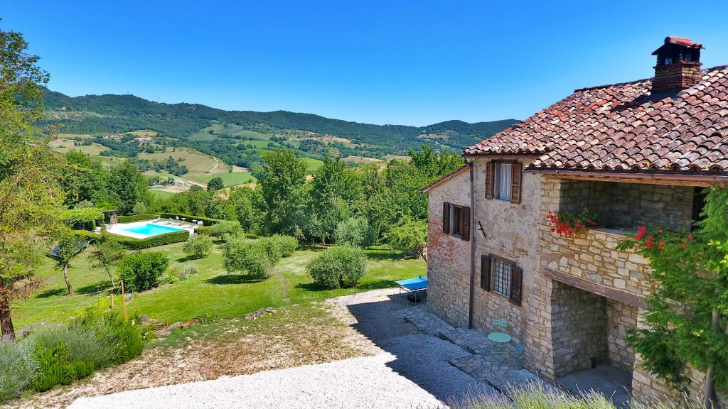 View Across The Niccone Valley From Ca di Bracco. Ca di Bracco is a 5 bedroom holiday villa in the Niccone Valley right on the Tuscany Umbria border, Italy.