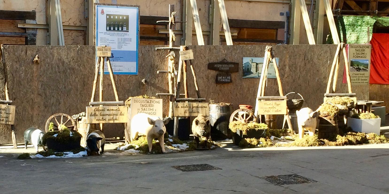Model Pigs Advertising the Ansuini Norcineria, Norcia, Umbria