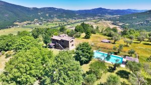 Aerial Photo Showing Casa Degli Ulivi, Holiday Villa With Pool, Looking East Down The Niccone Valley.